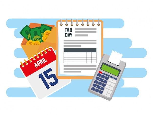Taxe de service d'affaires avec téléphone et calendrier