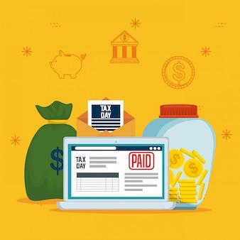 Taxe de service économique avec ordinateur portable et pièces de monnaie