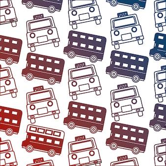Taxi anglais et bus à deux étages