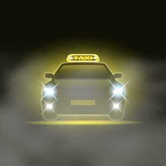 Taxi avec chant spécial sur le toit et phares sur la route de nuit