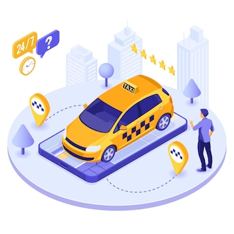 Taxi commande en ligne de l'homme du vecteur isométrique de smartphone