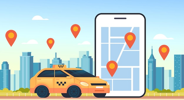 Taxi internet mobile en ligne concept de parking uber carsharing