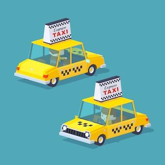 Taxi jaune avec le chauffeur à l'intérieur