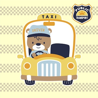 Taxi jaune avec chauffeur mignon