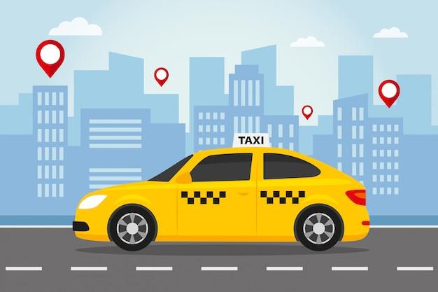 Taxi jaune en ville