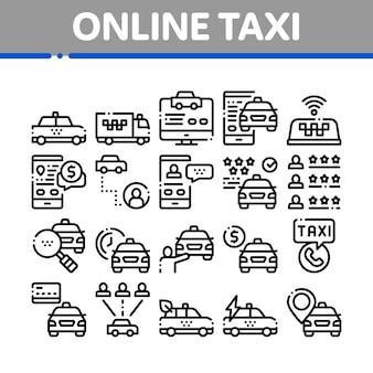 Taxi en ligne collection elements icons set