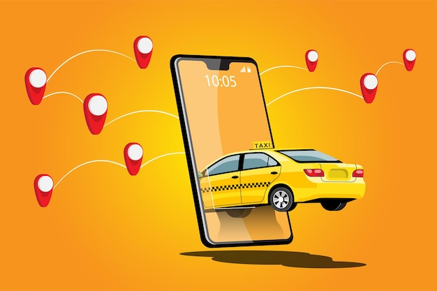 Taxi de livraison en ligne de partage de voiture avec personnage de dessin animé et smartphone concept de transport de ville intelligente, illustration