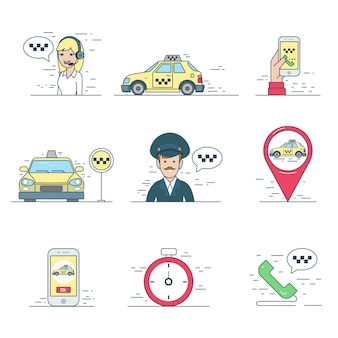 Taxi service mobile recherche pilote application mobile application icône linéaire plat style site web vecteur