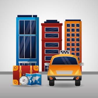 Taxi transport carte emplacement ville hôtel boussole valise