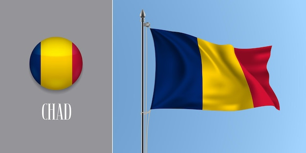 Tchad, agitant le drapeau sur le mât et l'icône ronde. 3d réaliste du bouton de cercle