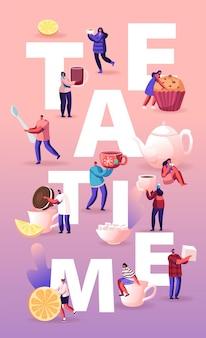 Tea time concept cartoon illustration plate