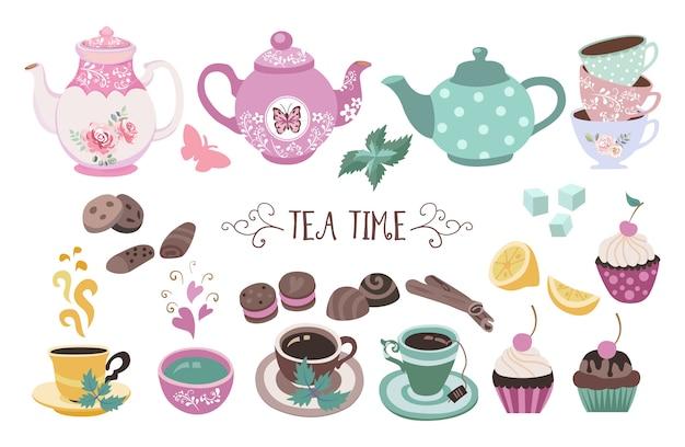 Tea time doodle set premium