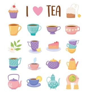 Tea time set icônes tasse à thé bouilloire gâteau cupcake fleur de citron boisson icônes illustration