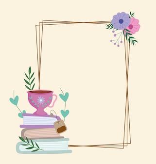 Tea time tasse mignonne sur les livres fleurs feuilles cadre décoration illustration