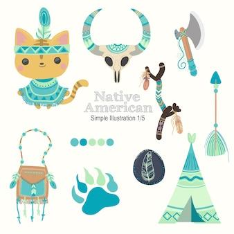 Teal native american cat