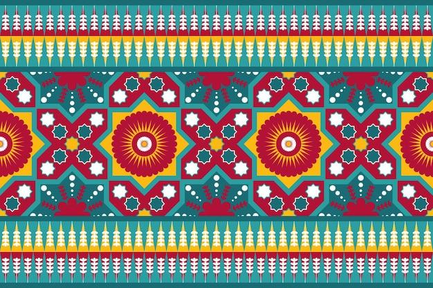 Teal rouge jaune vintage floral ethnique géométrique oriental transparente motif traditionnel. conception pour l'arrière-plan, tapis, toile de fond de papier peint, vêtements, emballage, batik, tissu. style de broderie. vecteur.