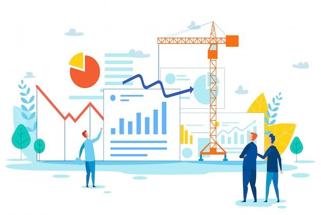 Team construct graphs and charts avec grue à tour