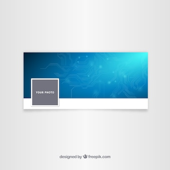 Tech blue facebook cover for company