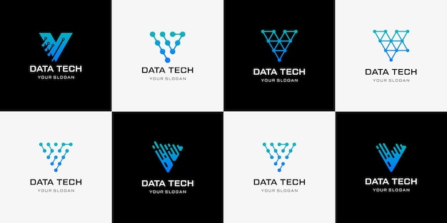 Tech lettre v logo lettre v logo design modèle icône du logo technologie