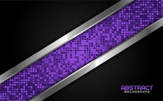 Tech violet abstrait avec ligne argentée et fond sombre