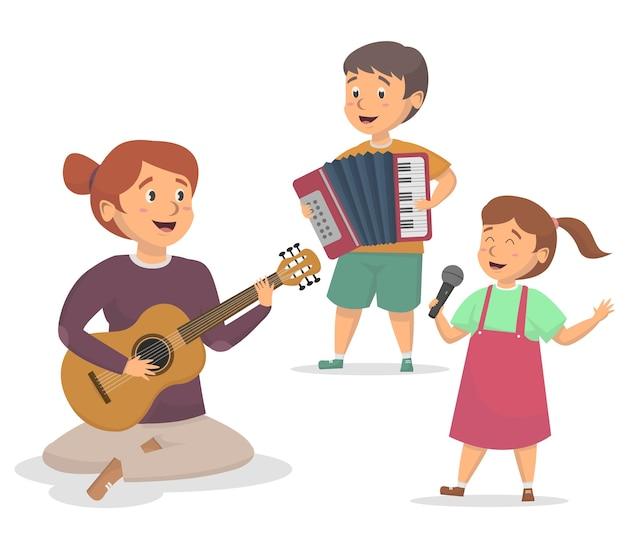 Techer et étudiants jouant de la musique ensemble illustration et
