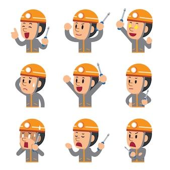 Technicien en dessin animé montrant différentes émotions