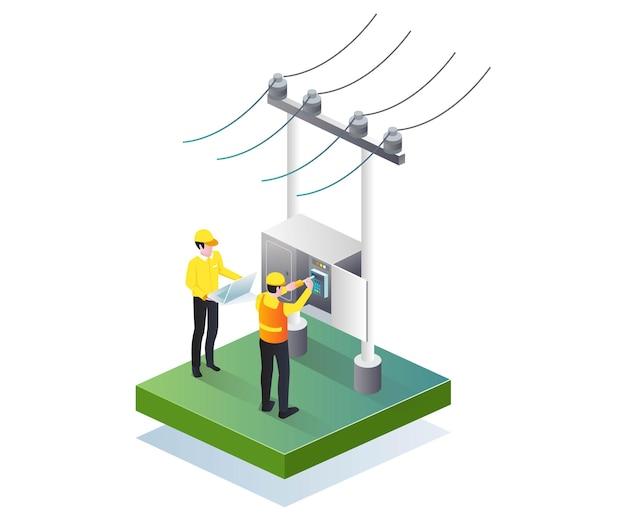 Technicien en électricité répare en illustration isométrique