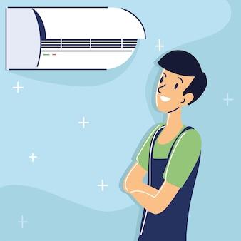 Technicien fixant le climatiseur