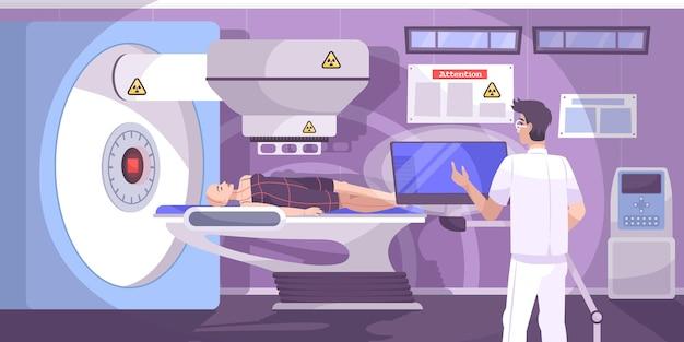 Un technicien en oncologie administre un traitement de radiothérapie par radiothérapie à une patiente chauve atteinte d'un cancer, composition horizontale à plat