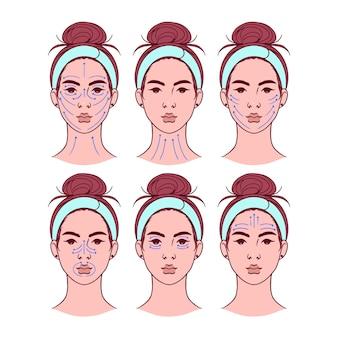 Technique de massage facial réaliste dessinée à la main