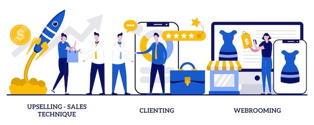 Technique de vente incitative, clientèle, concept de webrooming avec des personnes minuscules. ensemble d'illustrations vectorielles marketing. comportement d'achat, recherche de produits numériques, motivation des clients, métaphore du produit en ligne.