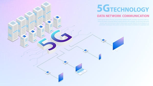 Technologie 5g données communication de réseau internet sans fil hispeed