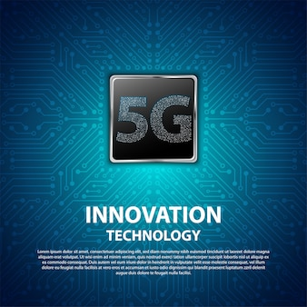 Technologie 5g innovation avec circuit imprimé en arrière-plan