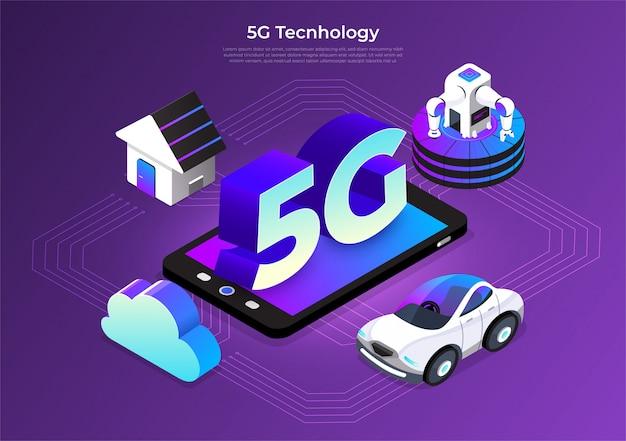 Technologie 5g isométrique