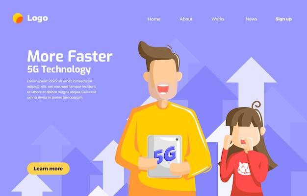La technologie 5g plus rapide pour l'avenir avec papa tient le gadget et sa fille est surprise