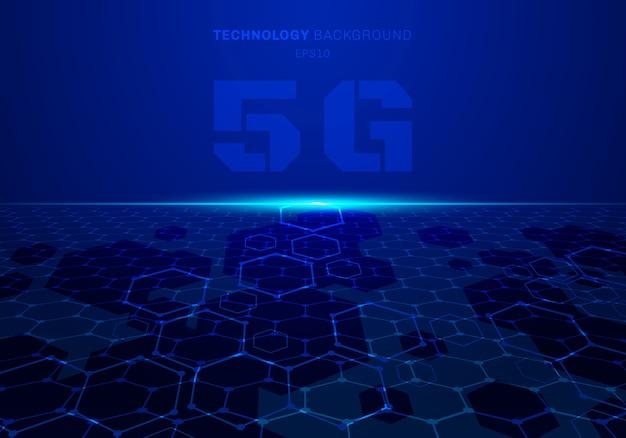Technologie abstraite 5g fond bleu futuriste