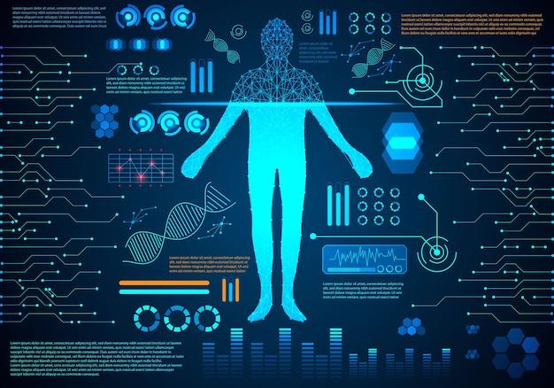 Technologie abstraite concept corps humain numérique soins de santé