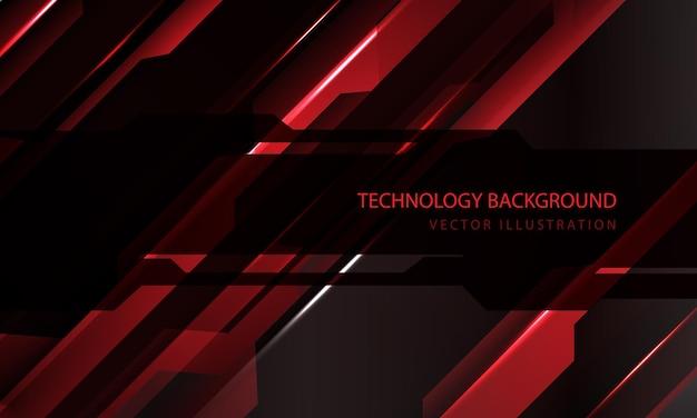 Technologie abstraite cyber circuit rouge noir barre oblique métallique vitesse sombre bannière transparence chevauchement conception fond futuriste moderne