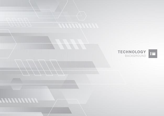 Technologie abstraite fond géométrique gris et blanc.