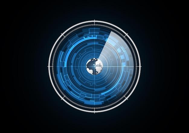 Technologie abstraite futur globe radar sécurité cercle fond illustration vectorielle