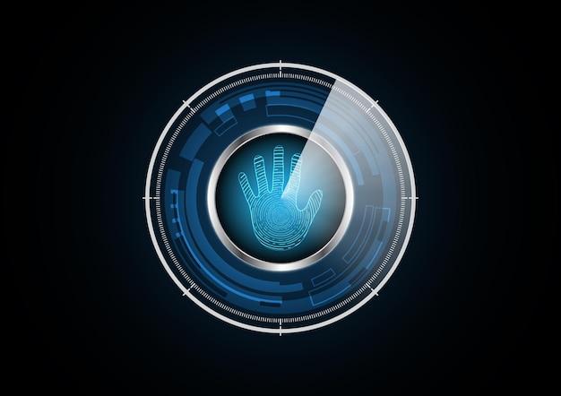 Technologie abstraite future main radar sécurité cercle fond illustration vectorielle