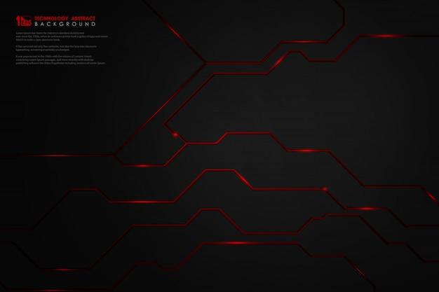 Technologie abstraite noire dégradé sur fond de ligne rouge.