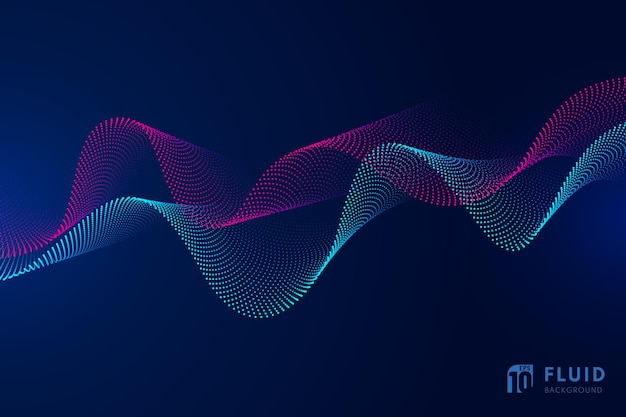 Technologie abstraite particules rouges et bleues conception ondulée mouvement 3d de fond dynamique sonore.