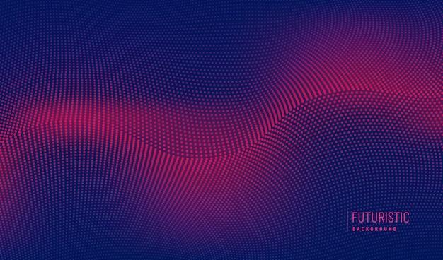 Technologie abstraite particules rouges conception ondulée mouvement 3d de son dynamique sur bleu foncé