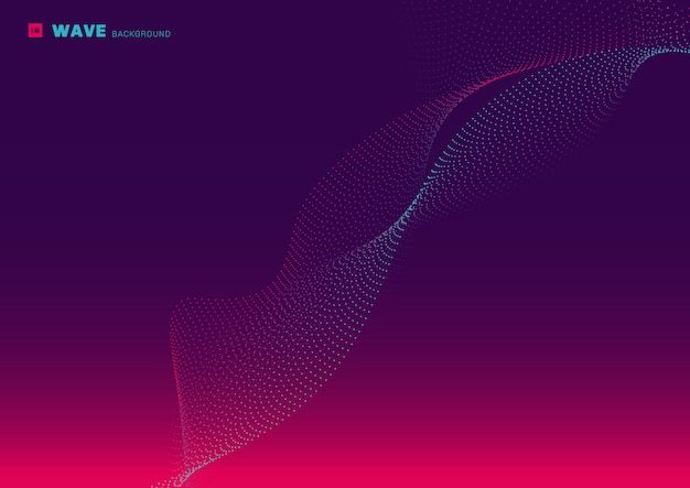 Technologie abstraite réseau futuriste conception particule rose et bleu ligne de points lumineux qui coule vague fond violet