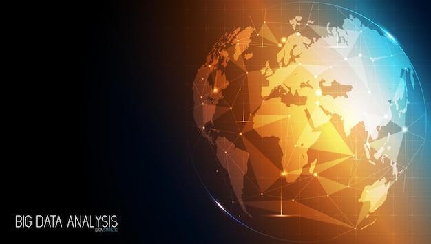 Technologie abstraite avec réseau mondial mondial et télécommunications sur les données numériques de la terre