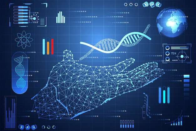 Technologie abstraite ui main futuriste adn