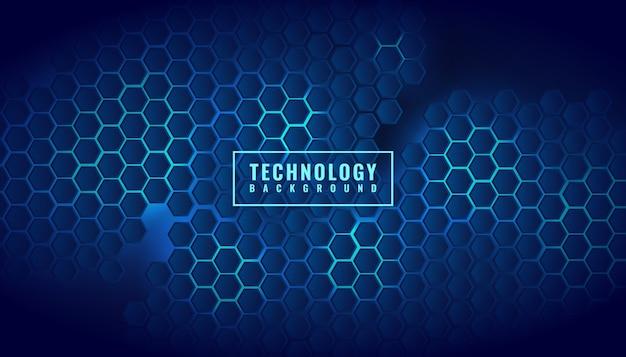 Technologie d'affaires abstraite modèle bleu hexagone brillant