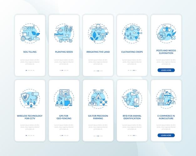 Technologie agricole sur l'écran de la page de l'application mobile d'embarquement avec ensemble de concepts
