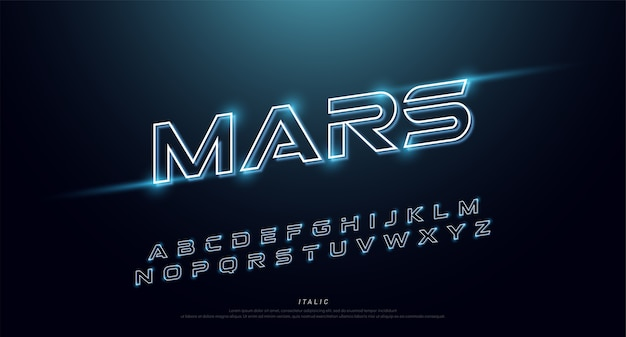 Technologie et alphabet néon de la technologie abstraite. effet techno